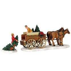 Lemax Christmas Tree wagon set of 2