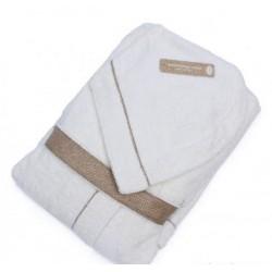Accappatoio spugna Borbonese OP Colour con cappuccio - col. bianco