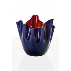 Fazzoletto Venini in vetro bicolore blu mare rosso