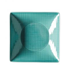 Piatto fondo quadrato Rosenthal Mesh aqua cm 20