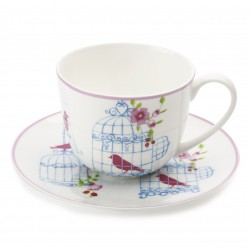 Tazza te' con piatto Maxwell & Williams Cashmere aviary bianco