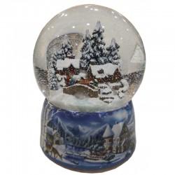 Carillon Palla di neve con una scena di case invernali
