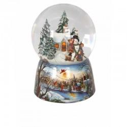 Carillon palla di neve bambini costruiscono un pupazzo di neve