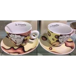 Tazze cappuccino Egan Campo di Cuori, Confezione 2 tazze - gialle e azzurre