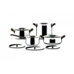 Set of stainless steel pots and 7 pieces Alessi Edo