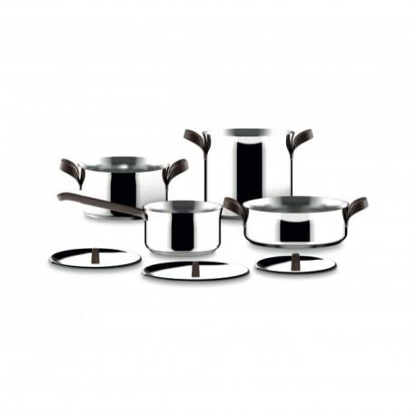 Set di pentole Alessi edo 7 pezzi in acciaio per induzione