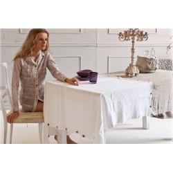 Arte Pura tovaglia puro lino con bottoni 130x180 bianco