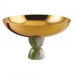 Coppa con piede Madame Sambonet verde oro cm 20.5
