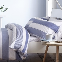 Duvet cover 1 and a half Newquay Stripe blue Catherine Lansfiled with two pillowcases