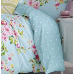 Duvet cover 1 and a half Canterbury blue Catherine Lansfiled with two pillowcases