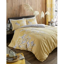 Duvet cover 1 and a half Yellow Oriental flower Catherine Lansfiled with two pillowcases