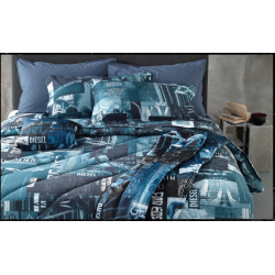 Blue Nippon double duvet cover Diesel with pillowcases 255x255 cm