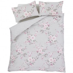 Catherine Lansfield Canterbury double bed sheets grey with two pillowcases