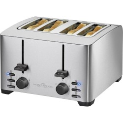 Proficook 4 compartment toaster with pliers