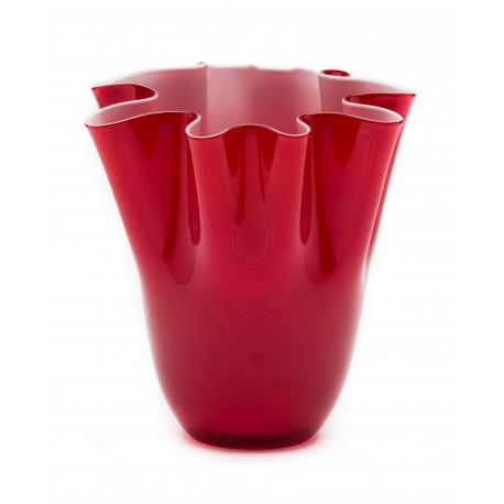 Vaso in vetro a fazzoletto Vulcano Comtesse rosso cm 24