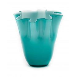 Vaso in vetro a fazzoletto Vulcano Comtesse turchese cm 24