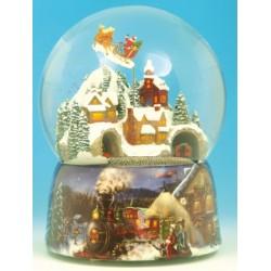 Carillon grande Palla di neve Babbo Natale e treno in città Il Mondo di Carillon