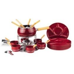Servizio fonduta 29 pezzi colore rosso scuro Eva Collection lucido