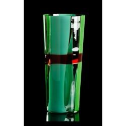 Vaso in vetro soffiato Carlo Moretti Trococono verde cm 31,5