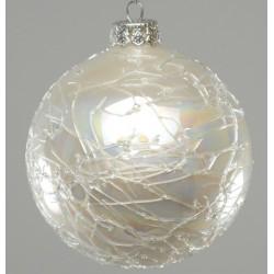 Addobbi Natalizi Sfera Shine white Arte Sempreverde, Confezione 4 pezzi