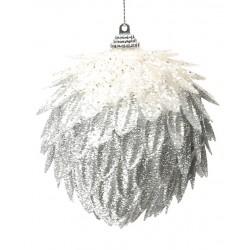 Addobbi Natalizi Pigna Silver Arte Sempreverde, Confezione 4 pezzi