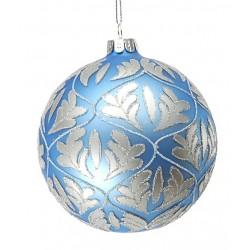 Addobbi Natalizi Sfera Foglie Silver Blu Arte Sempreverde, Confezione 4 pezzi