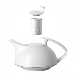 Teiera con filtro Rosenthal Tac platino in porcellana