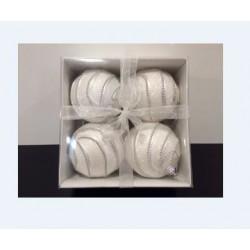 Addobbi Natalizi Sfera white perla Arte Sempreverde, Confezione 4 pezzi
